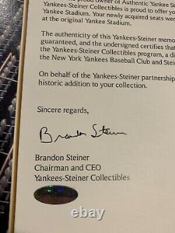 Original New York Yankee Stadium Seats Yankees Steiner Sports COA Pickup Only