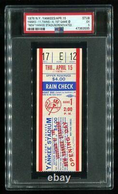 PSA Ticket Baseball 1976 New York Yankees 4/15 1st Game New Yankee Stadium
