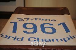 RARE Vintage 1961 New York Yankees FLAG FLEW OVER OLD YANKEE STADIUM STEINER LOA