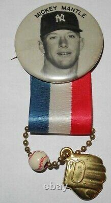 Rare 1950's Large Baseball Mickey Mantle New York Yankees Stadium Pin Button