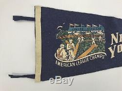 Rare New York Yankees American League Champs Stadium Pennant Vtg Tassel Baseball