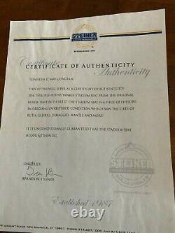 STEINER NEW YORK YANKEE STADIUM SEAT WithPLAQUE SIGNED WHITEY FORD REGGIE JACKSON