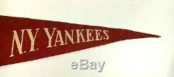 Spectacular Vintage 1940's New York Yankees Red Felt Stadium Pennant with 4 Ties