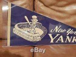 Vintage 1950's New York Yankees Stadium Felt Pennant Mickey Mantle HOF RARE