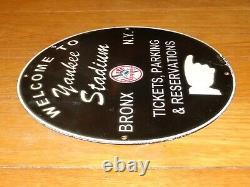 Vintage 1955 New York Yankees Stadium Baseball 11 3/4 Porcelain Metal Gas Sign