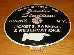 Vintage 1955 New York Yankees Stadium Baseball 12 Porcelain Metal Gas Oil Sign