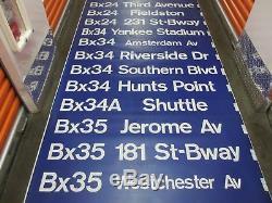Vintage 1970s New York City Bronx Area Bus Destination Roll Sign Yankee Stadium