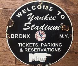 Vintage New York Yankees Stadium Baseball 11 3/4 Porcelain Sign Dated 1955