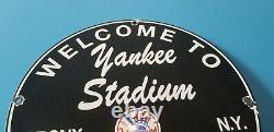 Vintage Yankees Porcelain Baseball Major League Baseball New York Stadium Sign